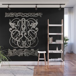 Old norse design - Two Jellinge-style entwined beasts originally carved on a rune stone in Gotland. Wall Mural