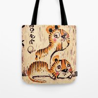 Tote Bags featuring Two Little Tigers  by Pigologist