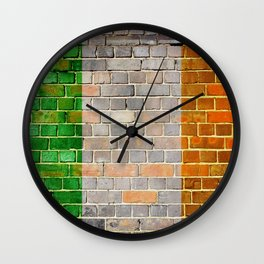 Ireland flag on a brick wall Wall Clock