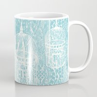 aelwen Mugs featuring Hang in there.  by Elena O'Neill