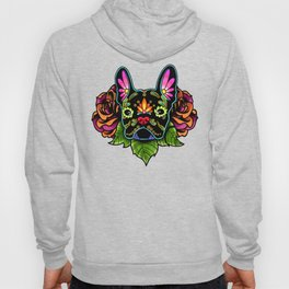 French Bulldog in Black - Day of the Dead Bulldog Sugar Skull Dog Hoody