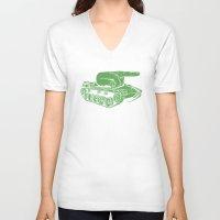 gears of war V-neck T-shirts featuring @#$% WAR! by Madkobra