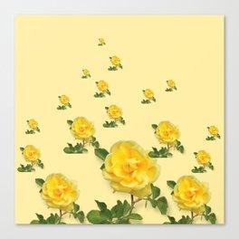 RAINING YELLOW ROSES COLLAGE ART Canvas Print