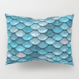 Luxury Turquoise Mermaid Sparkling Glitter Scales - Mermaidscales Pillow Sham