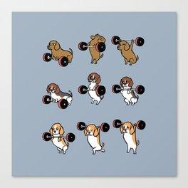 Olympic Lifting Beagles Canvas Print
