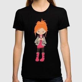 Fashion Girl, Cute Girl, Orange Hair, Pink Boots T-shirt