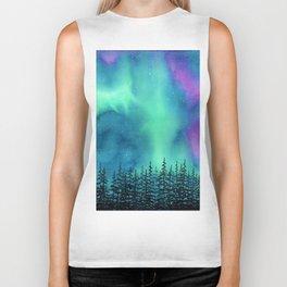 """Wilderness Lights"" Aurora Borealis watercolor landscape painting Biker Tank"