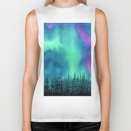 """Wilderness Lights"" Aurora Borealis watercolor landscape painting Biker Tank"