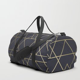 Modern Deco Gold and Marble Geometric Mountains on Navy Blue Duffle Bag