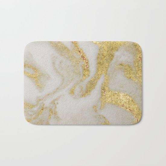 Marble - Swirled Shimmer Gold Marble Yellow on White Marble Bath Mat