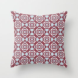 Simple geometric stripe flower red and blue Throw Pillow