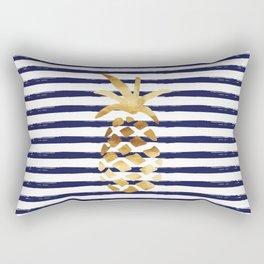 Pineapple & Stripes - Navy / White / Gold Rectangular Pillow