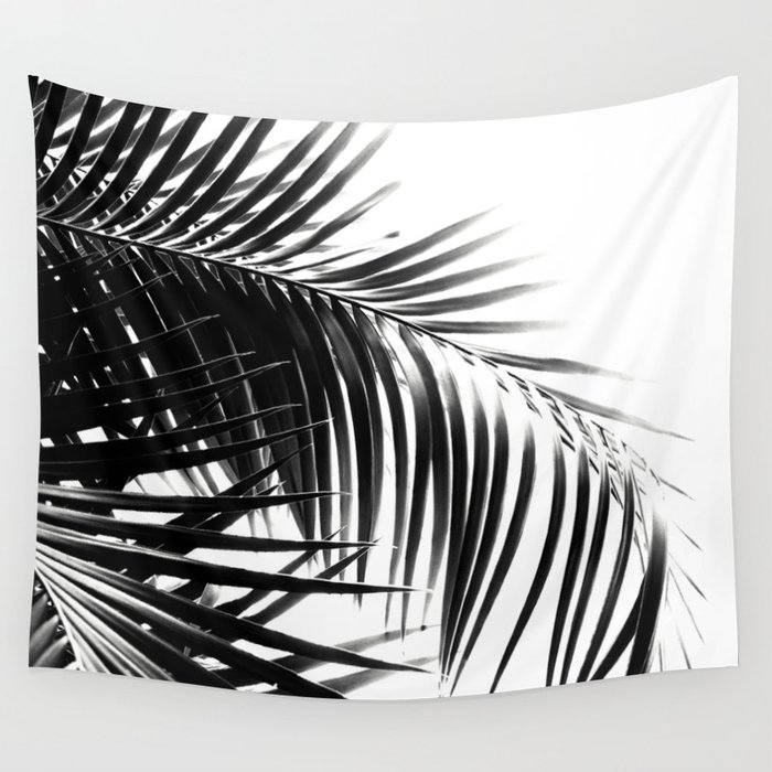 Palm Leaves Black & White Vibes #3 #tropical #decor #art #society6 Wall Tapestry