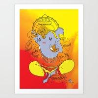 ganesh Art Prints featuring Ganesh  by xDiNKix