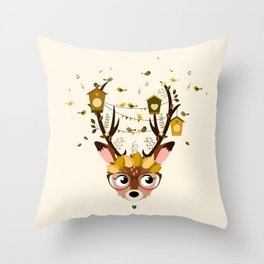 Biche et cabanes à oiseaux (jaune) Throw Pillow