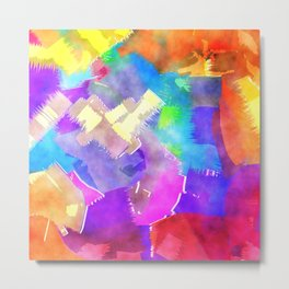 Watercolor Brush Strokes Metal Print