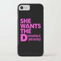 patriarchy iPhone & iPod Cases featuring She Wants the D (estruction of Patriarchy) - Pink by CreativeAngel