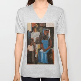 African-American Masterpiece 'Harlem Family' portrait painting by Charles Henry Alston Unisex V-Neck