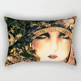 ART DECO FLAPPER COLLAGE POSTER PRINT, ROSES, BIRDS BUTTERFLIES ,LADY Rectangular Pillow