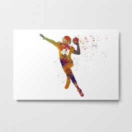 American football player in watercolor 30 Metal Print
