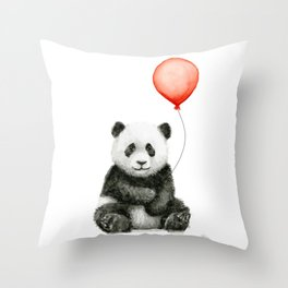 Baby Panda and Red Balloon Throw Pillow