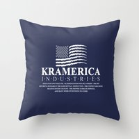 seinfeld Throw Pillows featuring Kramerica - Seinfeld by Donutwrangler