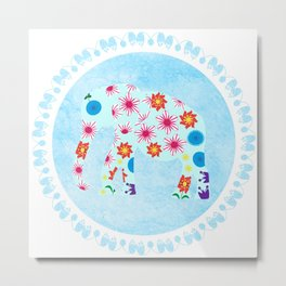 Elephant in watercolor background Metal Print