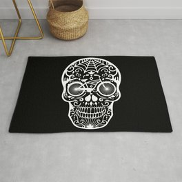 Vintage Mexican Skull with Bicycle - White on Black Rug