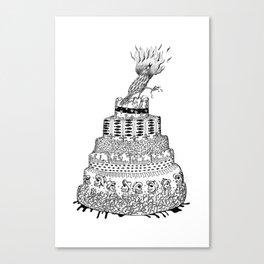 Death Cake and bird Canvas Print