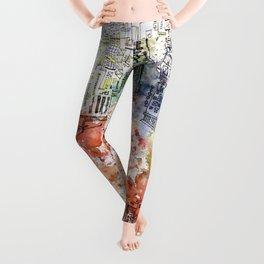 Ghetto - architecture and watercolor art print  Leggings