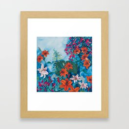 Blue Jungle of Orange Lily and Pink Trumpet Vine Floral Framed Art Print