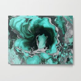 Teal and black Marble texture acrylic Liquid paint art Metal Print
