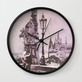 Couple kissing on Charles Bridge with Prague Castle in background- Czech Republic. Wall Clock
