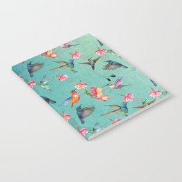 Vintage Watercolor hummingbirds and fuchsia flowers Notebook