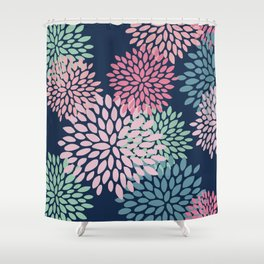 Floral Pattern, Navy Blue, Pink, Coral, Green Shower Curtain
