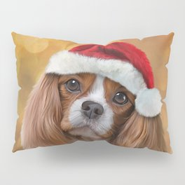 Drawing Dog breed Cavalier King Charles Spaniel  in red hat of Santa Claus Pillow Sham