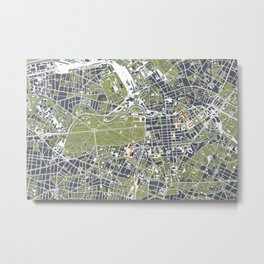 Berlin city map engraving Metal Print