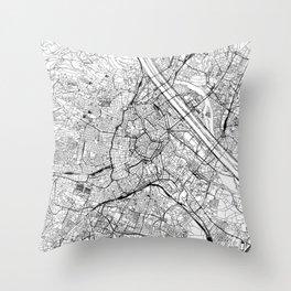 Vienna White Map Throw Pillow