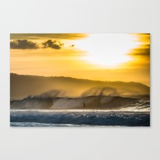Sunset Surfing over Off The Wall, Hawaii Canvas Print