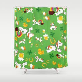 St. Patrick's Day Unicorn Pattern Shower Curtain