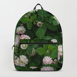 Clover flowers green and white floral field Backpack