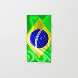 Brazil Flag Waving Silk Fabric Hand & Bath Towel