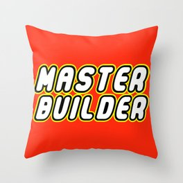 MASTER BUILDER in Brick Font Logo Design by Chillee Wilson Throw Pillow