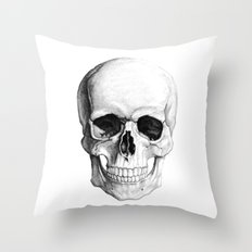 Human Skull Skeleton Throw Pillow