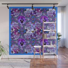 BLUE GEOMETRIC LILAC PURPLE PANSIES GARDEN ART Wall Mural