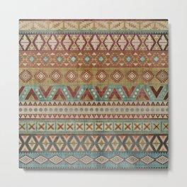 Geometric Art, Aztec Prints, Teal and Terracotta, Boho Wall Art Metal Print