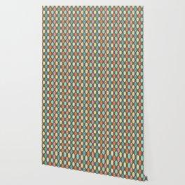 Midcentury Hexagon Argyle on Grey Wallpaper
