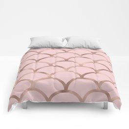 Rose gold mermaid scales Comforters