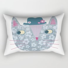 Flowery Cat in a Flowery Hat Rectangular Pillow