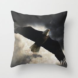 Soaring Eagle in Stormy Skies Throw Pillow